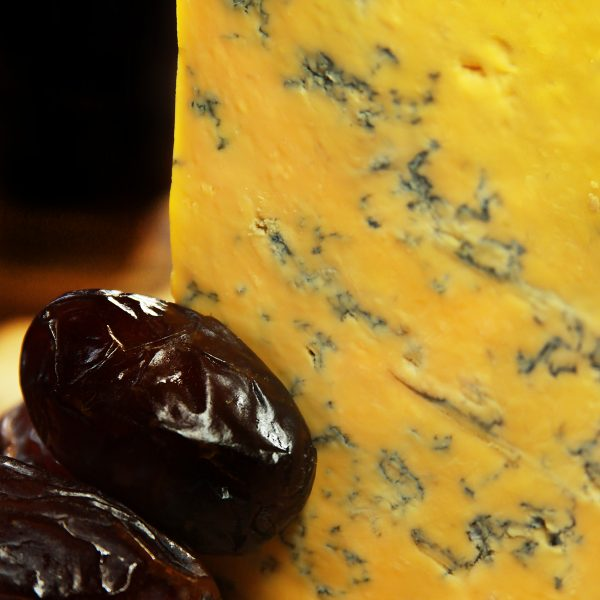 A close up of Cropwell Bishop Blue Shropshire Cheese