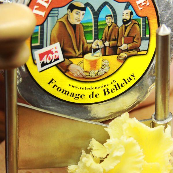 A close up of Tete De Moine Cheese