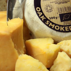 A close up of Smoked Godminster Cheese