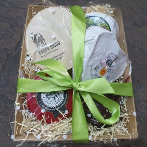 5 Cheeses Hamper with box, straw and bow.