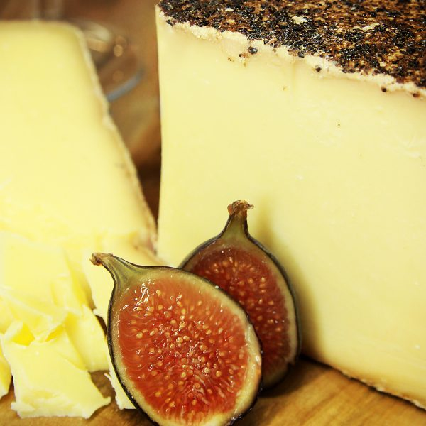 A close up of Red Wine Farmer Cheese
